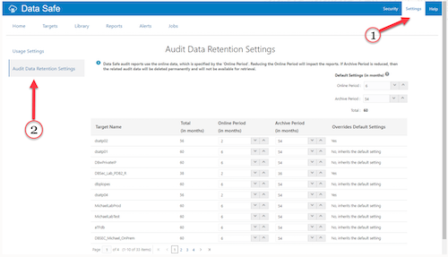 Screenshot of Data Safe page for setting the retention period for audit data