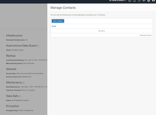 Manage user contact information form on OCI console