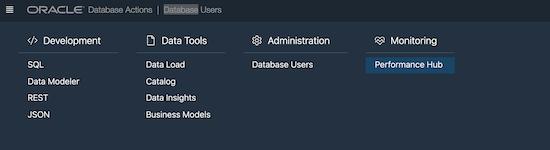 Screenshot of updated navigation menu in SQL Developer Web